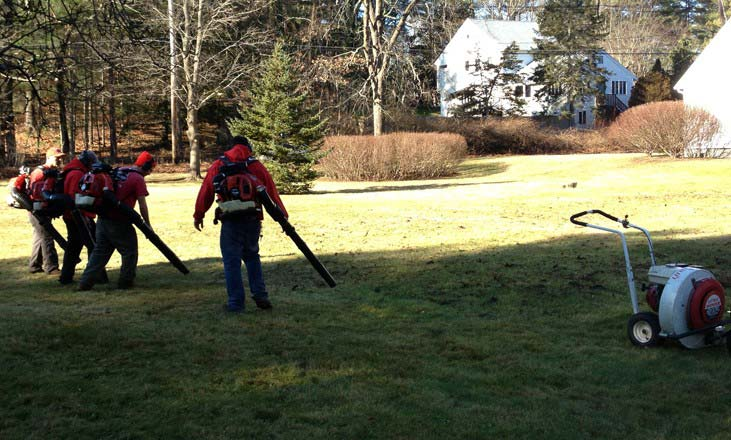 Advanced Land Management crew preforming a spring cleanup of a lawn in Wayne New Jersey