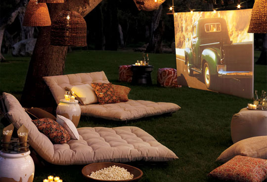 Outdoor Movie Theater - Backyard Lanscaping